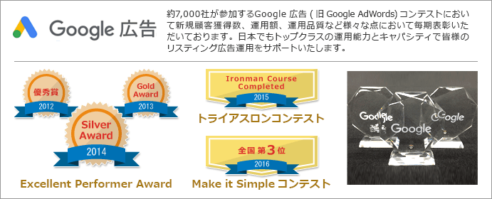 Google AdWords Excellent Performer Award 2012優秀賞受賞 2013Gold Award受賞